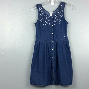 Guess Girls Embellished 100% Cotton Denim Dress 14